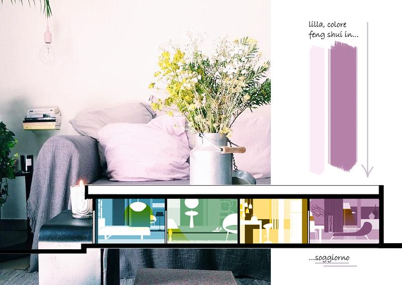 design outfit  lilla, colore feng shui in soggiorno
