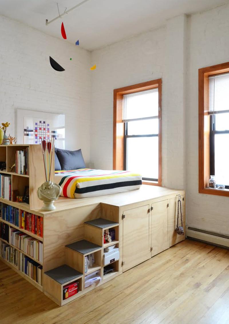 Letto su pedana idee salvaspazio per la camera da letto design outfit - Soluzioni salvaspazio camera da letto ...