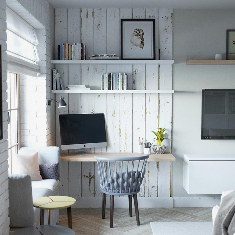 mini appartamento in azzurro, bianco e legno  design outfit