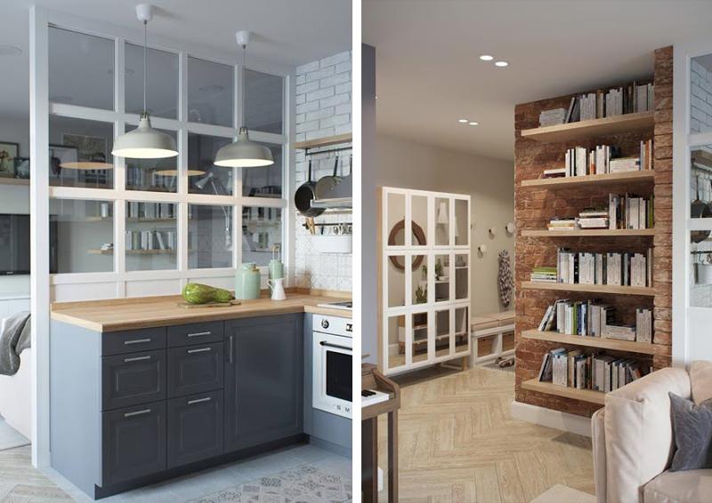 Mini appartamento in azzurro bianco e legno design outfit for Parete divisoria cucina soggiorno