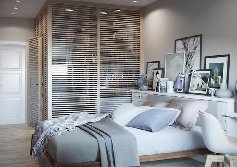 mini appartamento in azzurro, bianco e legno | la cabina armadio in camera da letto