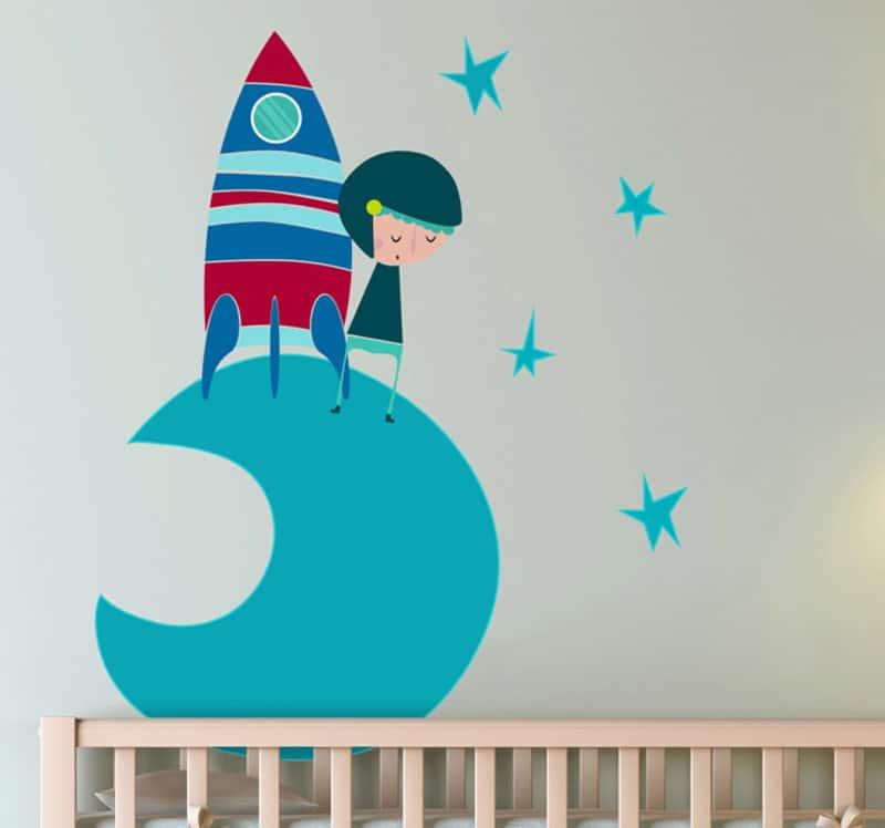 adesivi murali per bambini | sticker bambini astronauta luna tono azzurro