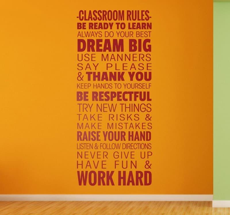adesivi murali per bambini | adesivo decorativo classroom rules