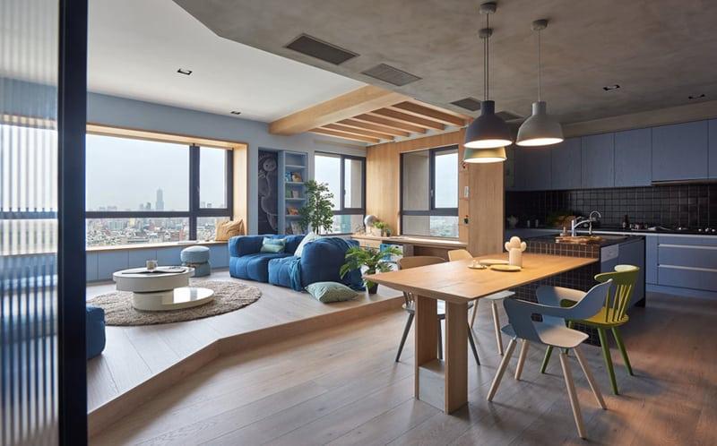 appartamento per famiglia a Taiwan: colore, open space e tanta luce naturale