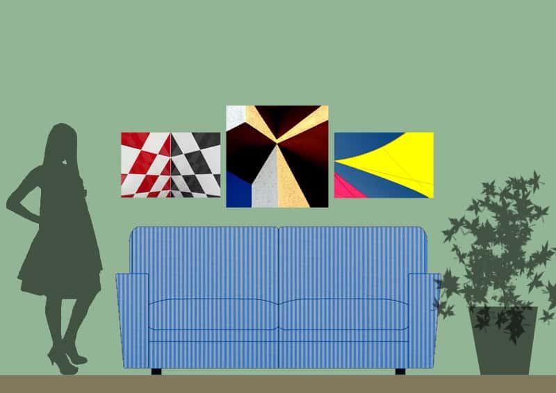 5 modi di appendere quadri sopra il divano   simmetria intorno a un elemento centrale