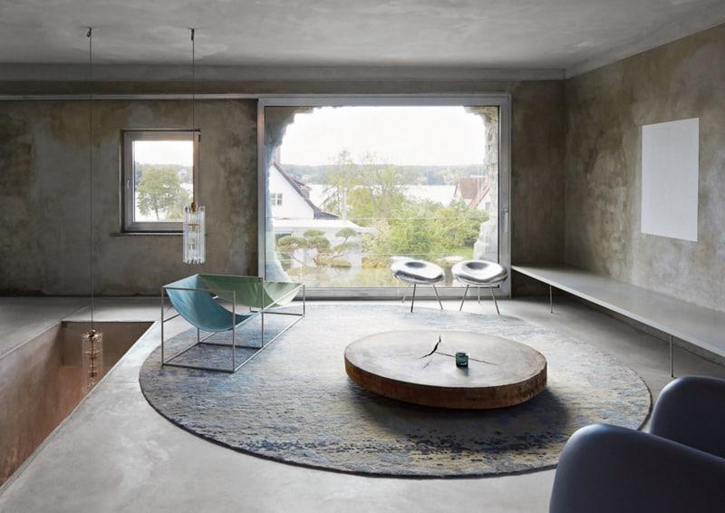 Pareti effetto cemento in soggiorno design outfit - Parete effetto cemento ...