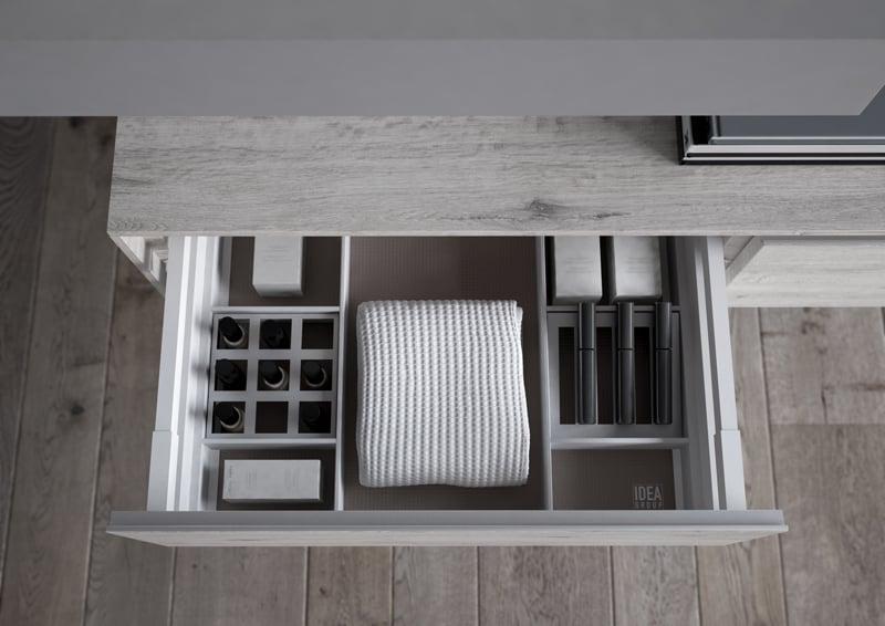 progetto bagno | pensili con cassettone attrezzato con divisori