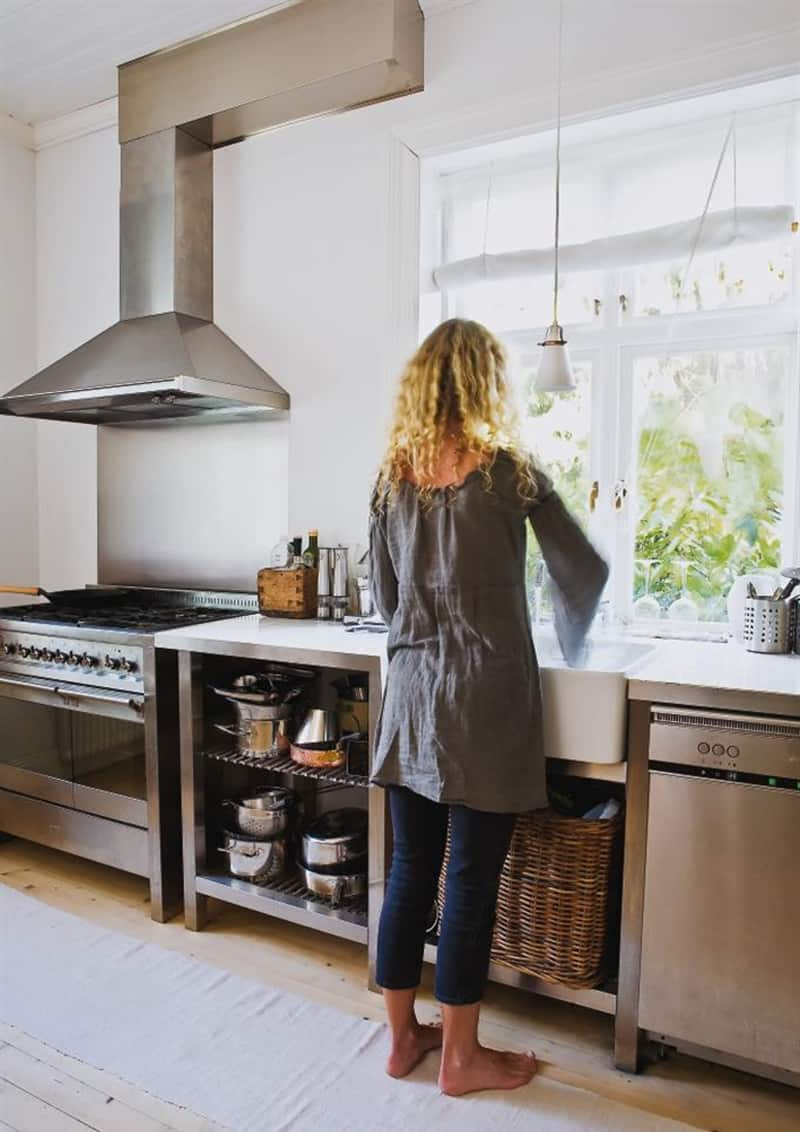 cucine in acciaio modulare | può essere integrata da una penisola | immagine via Kitchen Building