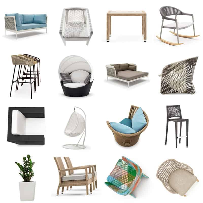 mobili per esterno in materiali intrecciati: novità design 2018